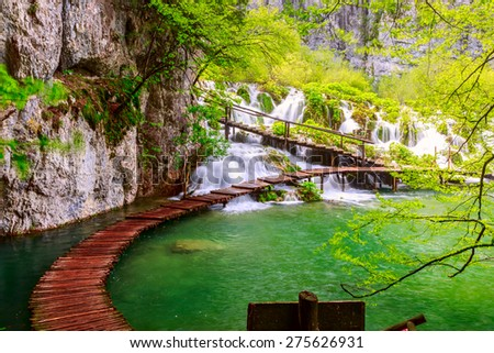 Wooden path in National Park in Plitvice in Croatia - stock photo