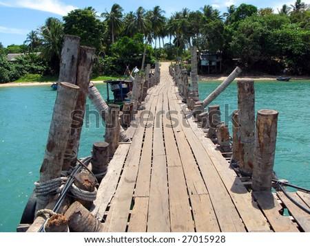Wooden pathway. Langkawi island, Malaysia - stock photo