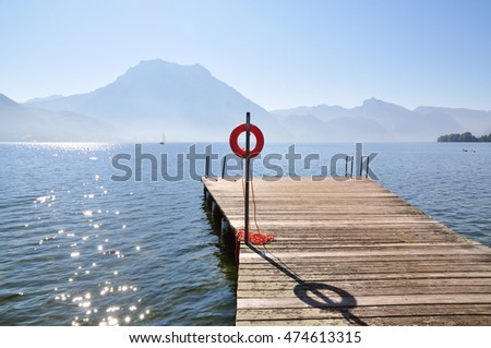 Wooden patio on a lake in Austria