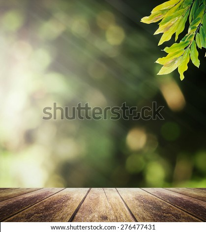 Wooden paving and blurred nature background. World Environment Day, Ecology, Agriculture, Health Care, Religion concept. - stock photo