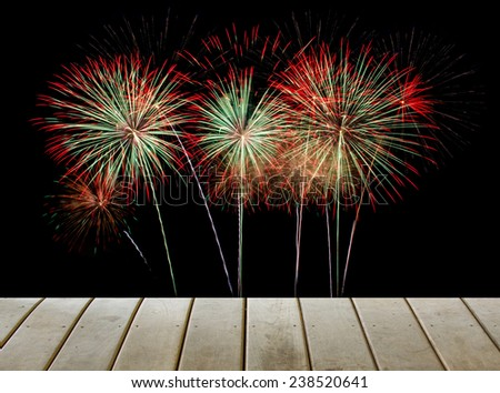 wooden paving with fireworks