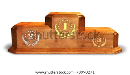 Wooden pedestal for trophies isolated on white background - stock photo