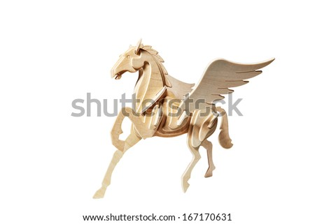 Wooden Pegasus catted on white background - stock photo