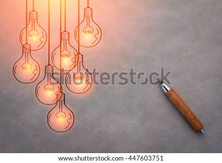 wooden pencil with drawing of glowing light bulb creativity ideas concept - stock photo