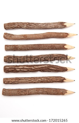 Wooden pencils isolated on white background - stock photo