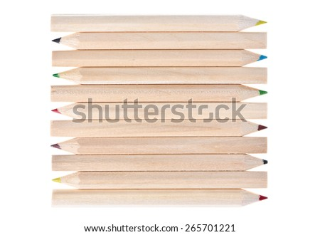 Wooden pencils tiled pattern on a white background - stock photo