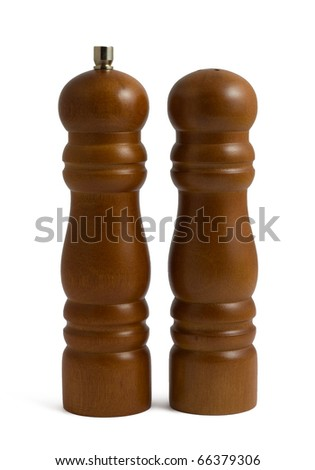 Wooden pepper grinder and saltcellar isolated on white