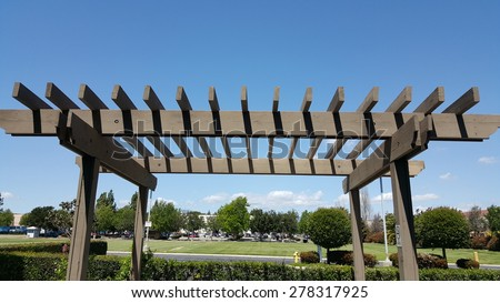 Wooden Pergola in backyard