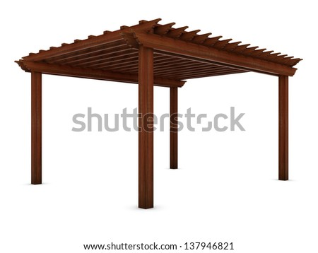 Wooden pergola on the white