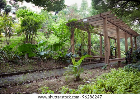 Wooden Pergola with footpath through in park - stock photo