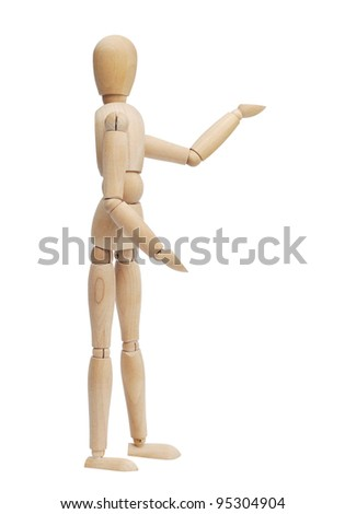 Wooden person showing product, space to insert text or design