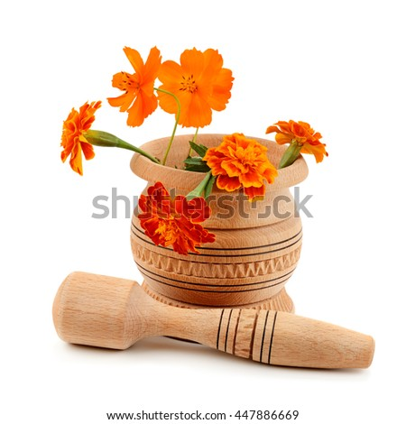wooden pestle and mortar isolated on white background - stock photo