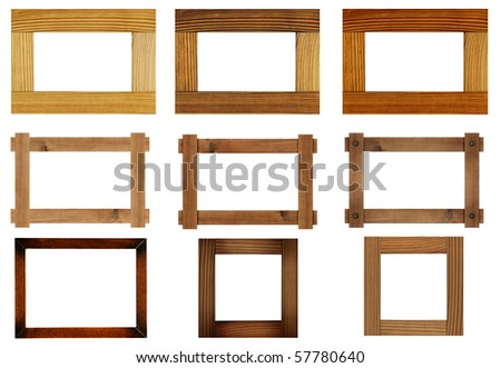 Wooden photo frame, isolated