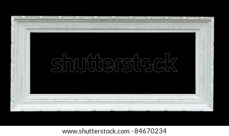 Wooden photo frame - isolated on black background - stock photo