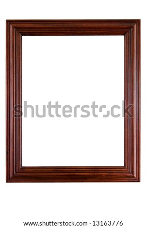 Wooden photo frame - isolated on white background - stock photo