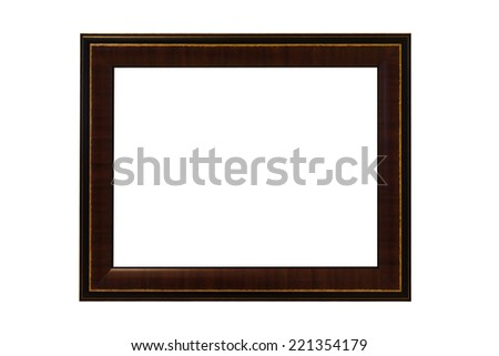 wooden photo frame isolated on white background with clipping path