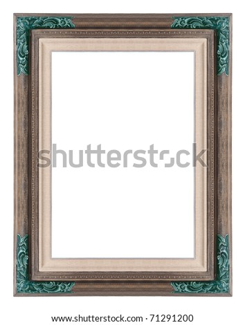 wooden photo frame of traditional Balinese handcraft. isolated on white background - stock photo