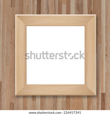Wooden photo frame on vintage wooden wall texture background with area for copy space. - stock photo