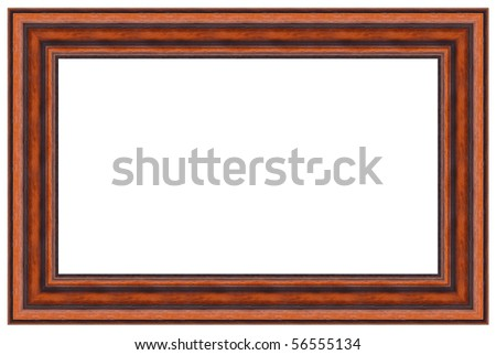 Wooden picture frame. Isolated - stock photo