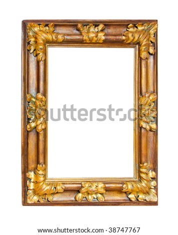 Wooden picture frame isolated included clipping path