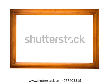 wooden picture frame isolated on white background - stock photo