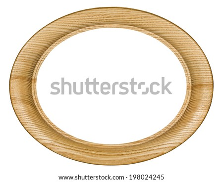 Wooden picture frame, on white background, with clipping path - stock photo