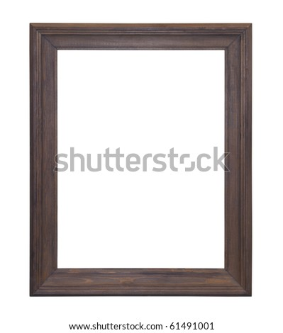 Wooden picture frame with clipping path - stock photo