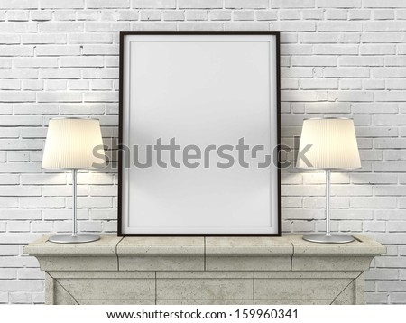 wooden picture frame with lamps - stock photo