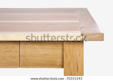 wooden piece of furniture - Edge of a table - stock photo