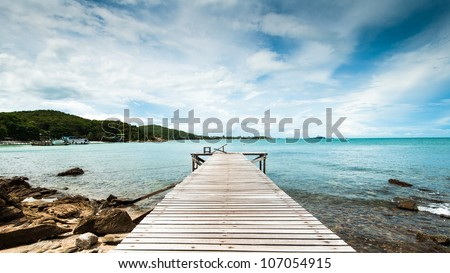 Wooden pier at Koh Samet - stock photo
