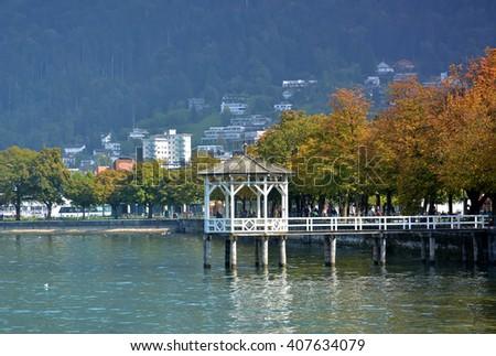 Wooden pier in Bregenz, Austria - stock photo
