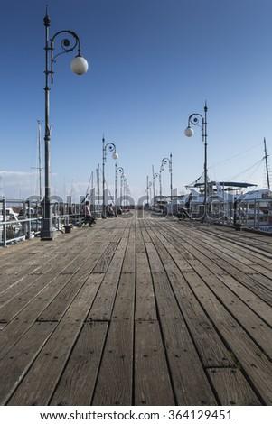 Wooden pier in Larnaca port, Cyprus. - stock photo