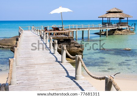 Wooden pier in tropical paradise , Koh Kood island , Thailand . - stock photo