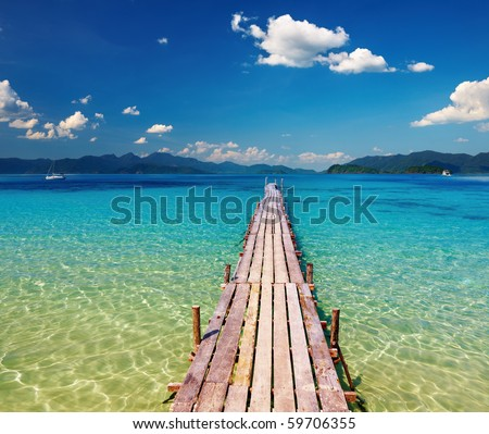 Wooden pier in tropical paradise, Thailand - stock photo