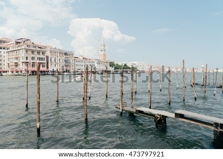 Wooden pier in Venice Italy with great view