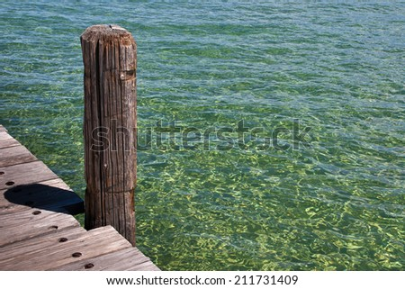 Wooden pier on the lake of Tahoe  - stock photo