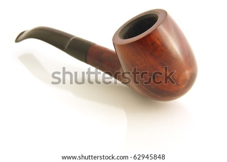Wooden Pipe isolated on white background - stock photo