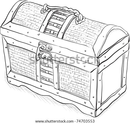 Wooden pirate chest - a simple monochrome illustration - stock photo