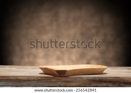 wooden place and table of wood with wall
