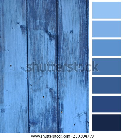 wooden plank blue color selection - stock photo