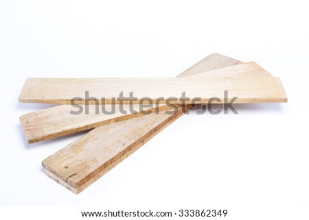 Wooden plank on white background