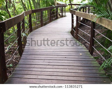 wooden plank road - stock photo