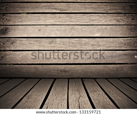 wooden planks interior background, wood floor and wall - stock photo