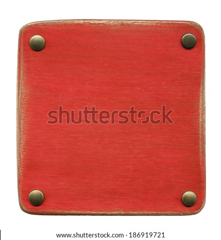 Wooden plaque attached with rivets - stock photo