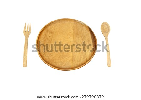 Wooden plate and pair spoon fork isolated on white background with clipping path - stock photo