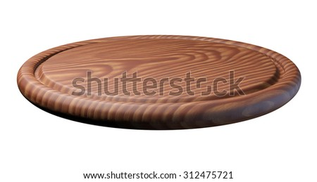 Wooden plate for meat and vegetable, isolated on white background