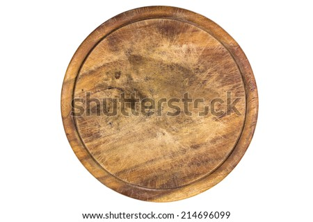 wooden plate for meat and vegetable on white background, clipping path  - stock photo