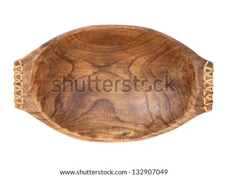 wooden plate isolated on white background with clipping path