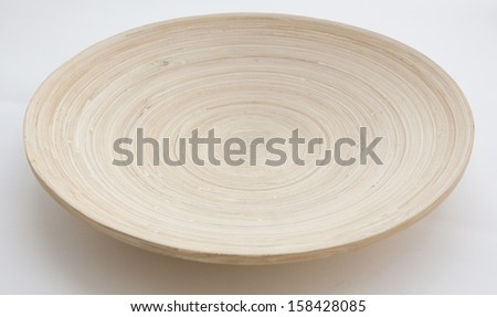 Wooden Plate on white background - stock photo