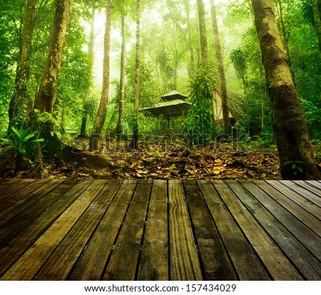 Wooden platform and green forest and huts in a misty morning, Malaysia. - stock photo